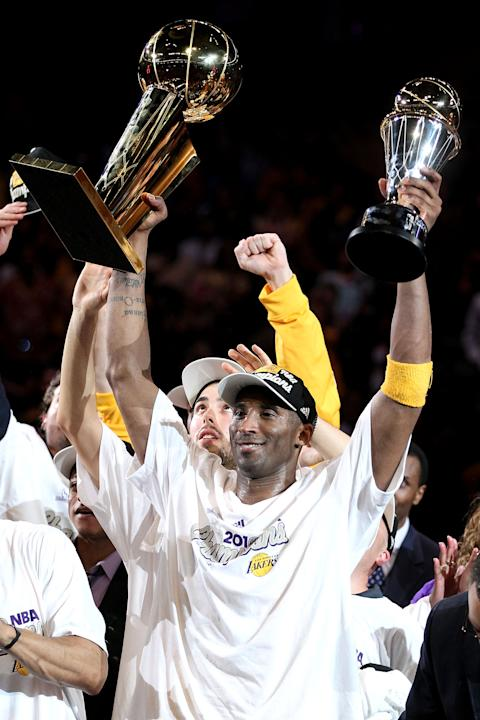 Kobe Bryant wins his fifth championship