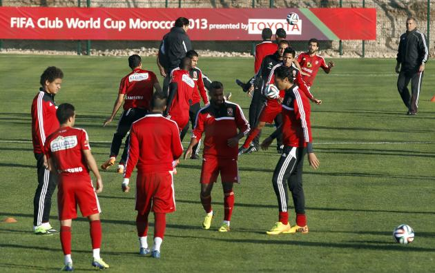 Egypt's Al Ahly head coach Yousef trains with his players during a practice session in preparation for the FIFA Club World Cup in Agadir