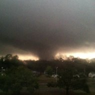 This photo provided by Jordan Holliman shows a tornado moving through Hattiesburg, Miss., Sunday, Feb. 10, 2013. Emergency officials say an apparent tornado has caused significant damage in Hattiesburg, Miss., after passing along a main road. Major damage was reported in Hattiesburg and Petal, including on the campus of the University of Southern Mississippi. (AP Photo/Jordan Holliman)