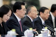 Chinese President Hu Jintao (2nd L) at a welcoming ceremony for the attendees of the fifth ministerial meeting of the Forum on China-Africa Cooperation in Beijing on July 18. Hu said China would offer $20 billion in new loans to Africa, underscoring the Asian powerhouse&#39;s growing links with the resource-rich continent