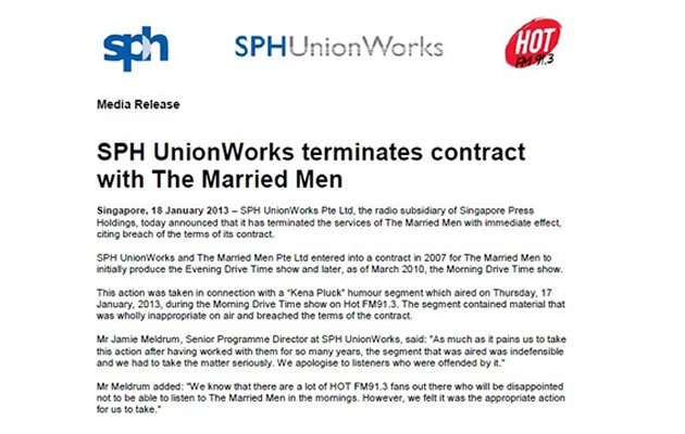 The press statement from SPH Unionworks announcing its termination of The Married Men show
