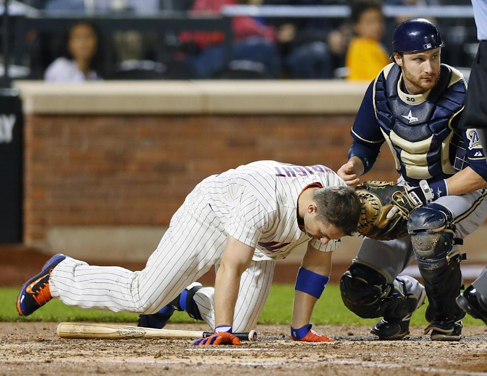 Brewers beat Mets 4-2 in game Wright is beaned