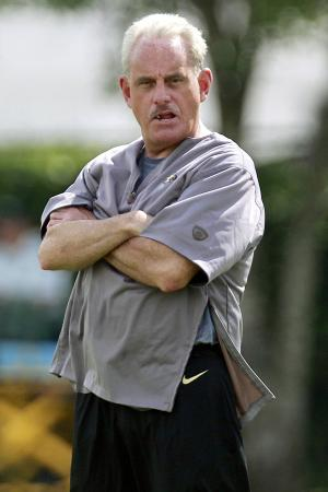 FILE - In this May 31, 2012, file photo, New Orleans Saints acting head coach Joe Vitt watches an NFL football organized team activity at the team's training facility in Metairie, La. When Sean Payton broke his leg in a sideline collision early last season, the club had a chance to see how it would fare with assistants taking on more responsibility. That experience will help the team as Payton misses the entire season and Vitt serves his own six-game suspension at the start of the regular season stemming from the NFL's bounty investigation, which found that Saints players were offered improper cash bonuses for hits that injured opponents. (AP Photo/Gerald Herbert, File)