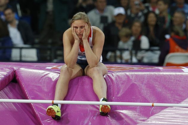 Britain's Holly Bleasdale reacts after failing to clear the bar during the women's pole vault final at the London 2012 Olympic Games