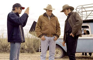 Director Ang Lee with Heath Ledger and Jake Gyllenhaal on the set of Focus Features' Brokeback Mountain