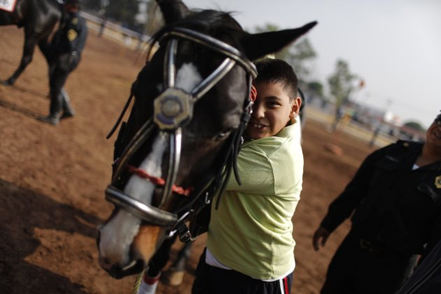 Handicapped child embraces a horse after a session of equine-assisted therapy at the Mounted Police Unit in Mexico City