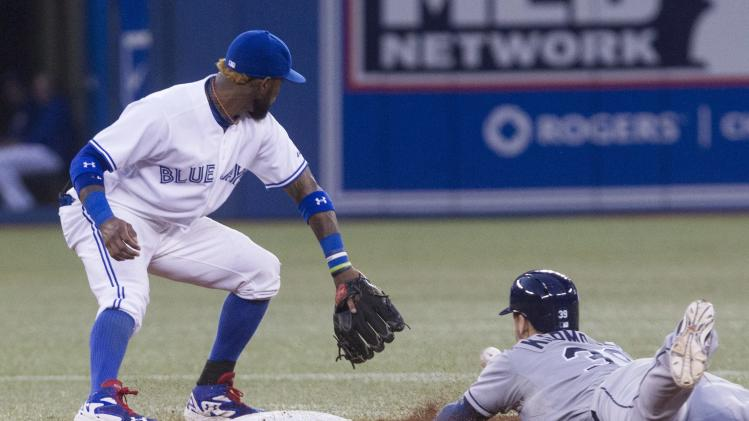 Tampa Bay Rays' Kevin Kiermaier, right, safely steals second in front of Toronto Blue Jays' Jose Reyes after hitting a RBI double during the fourth inning of a baseball game, Friday, Aug. 22, 2014 in Toronto. (AP Photo/The Canadian Press, Chris Young)