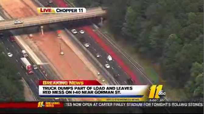 Iron oxide spill snarls traffic on Interstate 40 in Raleigh