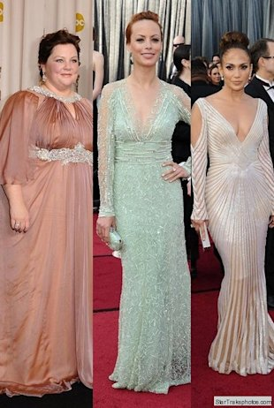 melissa mccarthy berenice bejo jlo oscars 2012