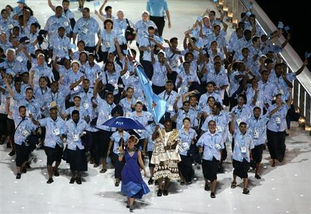 Fijian team arrives for the Commonwealth Games opening ceremony in Melbourne