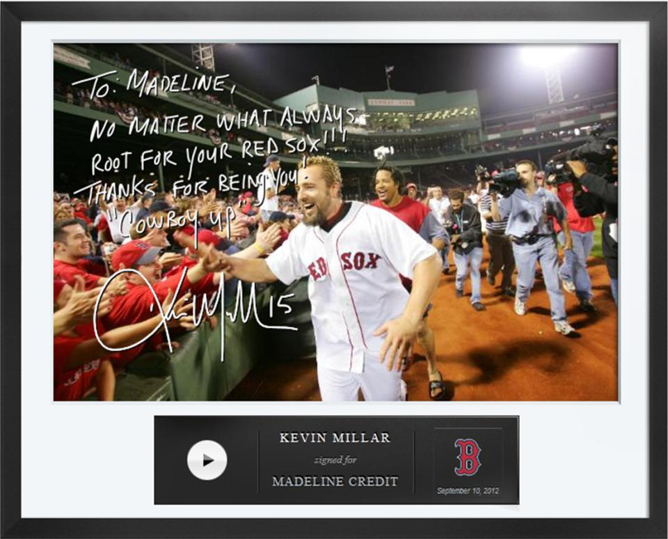 This undated photo provided by Egraphs shows an Egraph signed by former Boston Red Sox's Kevin Millar. Egraphs, launched at the All-Star break, is a technological breakthrough that offers an autographed digital picture with a handwritten note and a personalized audio message for $50. (AP Photo/Egraphs)