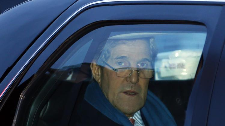 U.S. Secretary of State John Kerry arrives at Geneva International airport in Geneva, Switzerland, Saturday, Nov. 23, 2013 for closed-door talks on Iran's nuclear program. . (AP Photo/Denis Balibouse,Pool)
