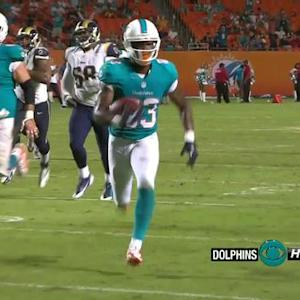 Miami Dolphins quarterback Seth Lobato to wide receiver Matt Hazel for a 22-yard TD
