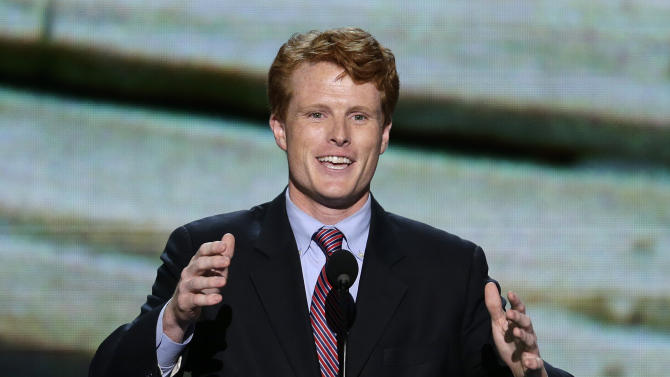 Joe Kennedy III, candidate for the House of Representatives from Massachusetts, addresses the Democratic National Convention in Charlotte, N.C., on Tuesday, Sept. 4, 2012. (AP Photo/J. Scott Applewhite)