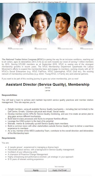 Labour union NTUC waste no time in advertising for a vacant position (Screengrab from Jobstreet)