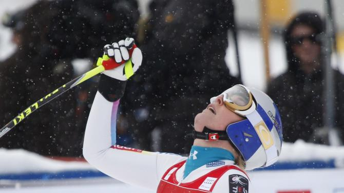 Lindsey Vonn, of the United States, reacts in the finish area following her run at the women's World Cup downhill ski race in Lake Louise, Alberta, Friday, Nov. 30, 2012.(AP Photo/The Canadian Press, Jeff McIntosh)