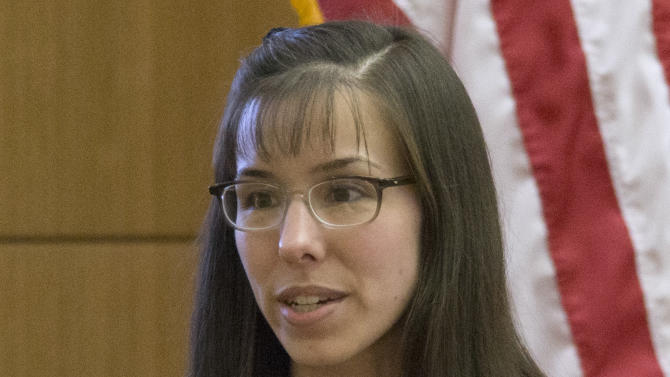 Defendant Jodi Arias testifies in her murder trial  at  Maricopa County Superior Court, on Monday, Feb 4, 2013, in Phoenix. Arias is charged with murder in the 2008 death of her boyfriend Travis Alexander. (AP Photo/The Arizona Republic, Mark Henle)