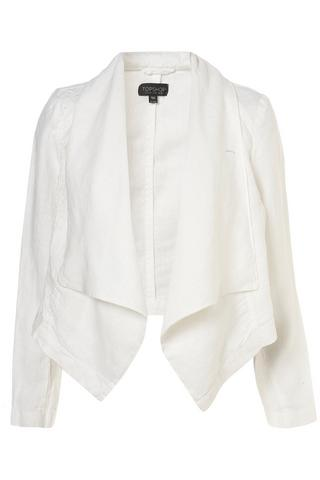 Linen waterfall jacket, $84, at Topshop