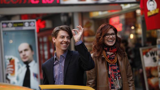 """In this image released by NBC, Christian Borle portrays Tom, left, and Debra Messing portrays Julia in the new series """"Smash,"""" airing Mondays at 10 p.m. EST on NBC. (AP Photo/NBC, Will Hart)"""