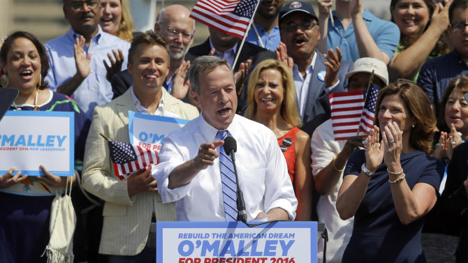 "Former Maryland Gov. Martin O'Malley addresses supporters during an event to announce that he is entering the Democratic presidential race, Saturday, May 30, 2015, in Baltimore. O'Malley joined the Democratic presidential race with a longshot challenge to Hillary Rodham Clinton for the 2016 nomination.  ""I'm running for you,"" he told a crowd of about 1,000 people at Federal Hill Park in Baltimore, where he served as mayor before two terms as governor.   (AP Photo/Patrick Semansky)"