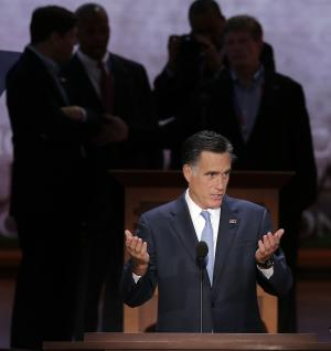 Republican presidential nominee Mitt Romney looks over the podium position during a sound check at the Republican National Convention in Tampa, Fla., on Thursday, Aug. 30, 2012. (AP Photo/J. Scott Applewhite)