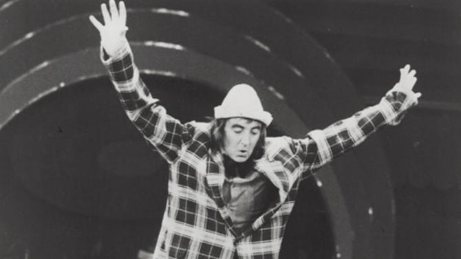 In this 1974 photo, Brian Dewhurst performs as the clown Brian Andro with the Circus Krone in Munich, Germany. After playing a clown for the last 60 years in various acts around the globe, Dewhurst, now 80 years old, performs as clown Brian Le Petit in Cirque du Soleil's Mystere in Las Vegas and is the upscale circus' oldest performer. (AP Photo/Courtesy of Nicky Dewhurst)