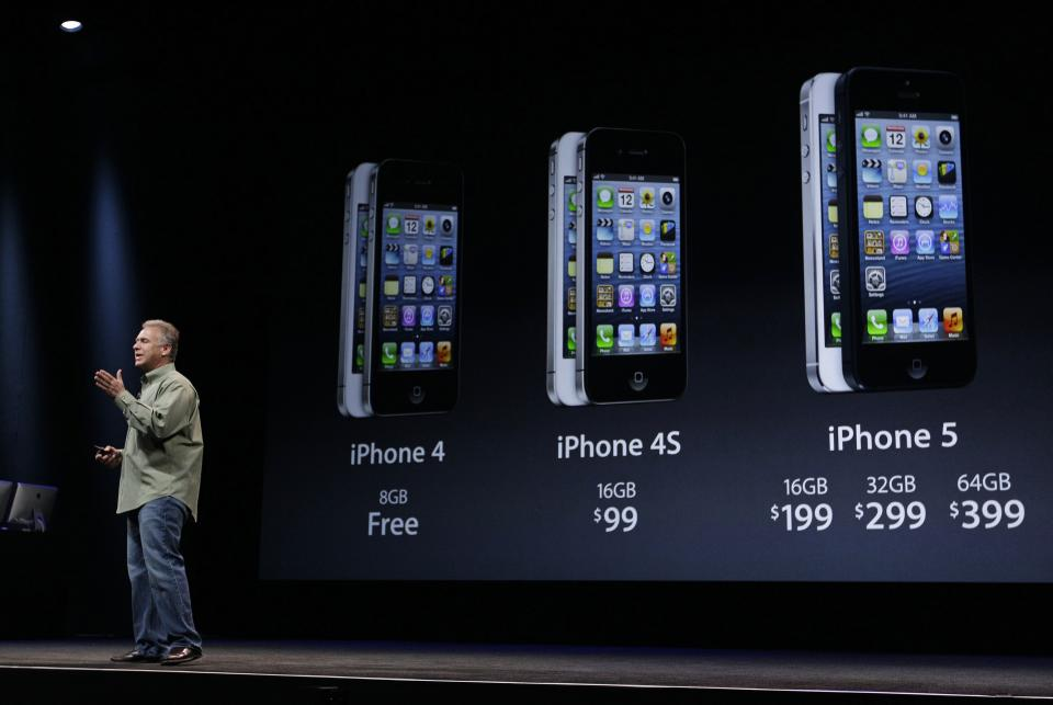 Phil Schiller, Apple's senior vice president of worldwide marketing, speaks on stage during an introduction of the new iPhone 5 in San Francisco, Wednesday Sept. 12, 2012. (AP Photo/Eric Risberg)