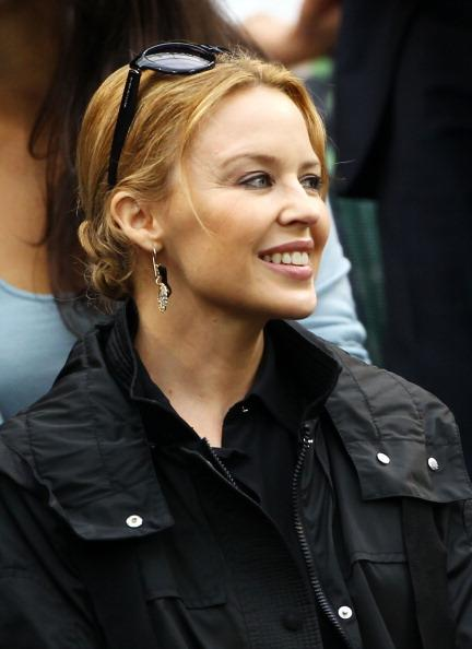 Kylie Minogue watches on from the Royal Box on Centre Court on day eleven of the Wimbledon Lawn Tennis Championships at the All England Lawn Tennis and Croquet Club on July 6, 2012 in London, England. (Photo by Clive Brunskill/Getty Images)