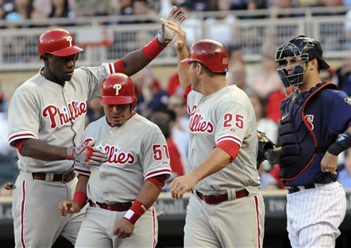 Thome powers Hamels, Phillies past Twins 9-8