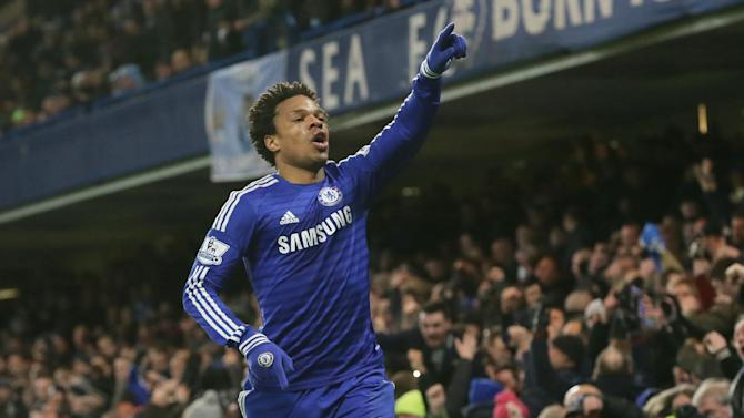 Chelsea's Loic Remy celebrates after scoring a goal during the English Premier League soccer match between Chelsea and Manchester City at Stamford Bridge, London, England, Saturday, Jan. 31, 2015. (AP Photo/Tim Ireland)