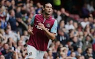 West Ham United's striker Andy Carroll seen on his debut during their English Premier League football match between against Fulham at the Boleyn Ground, Upton Park, in East London