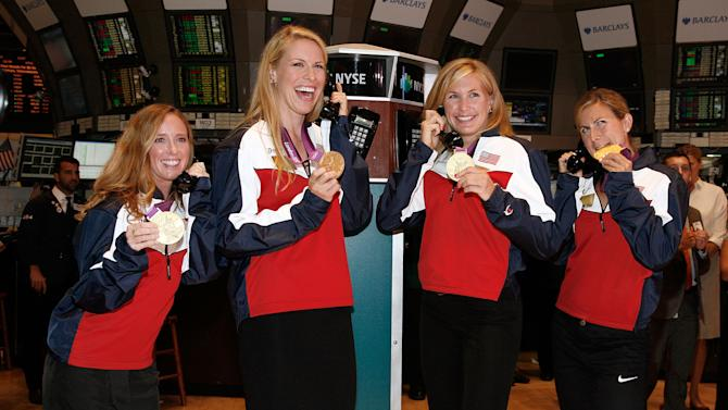 2012 U.S. Women's Olympic Rowing Two-Time Gold Medalists Meghan Musnicki And Erin Cafaro Ring The NYSE Opening Bell