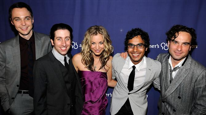 """Cast members of """"The Big Bang Theory"""" (L-R) Jim Parsons, Simon Helberg, Kaley Cuoco, Kunal Nayyar, Johnny Galecki at the The Alzheimer's Association's """"A Night At Sardi's"""" on March 4, 2009 at The Beverly Hilton Hotel, Beverly Hills, California"""