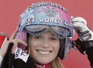 Schild of Austria celebrates on the podium after winning the Women's World Cup Slalom skiing race in Courchevel