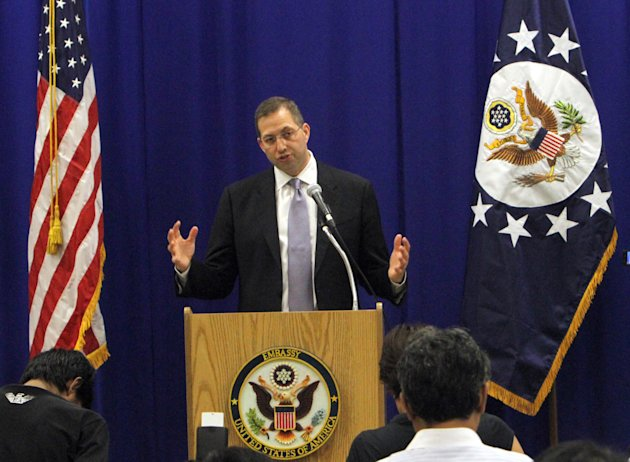 U.S. Ambassador to Myanmar Derek Mitchell speaks during a press conference at the U.S. Embassy in Yangon, Myanmar, Friday, Oct. 19, 2012. The U.S. raised concerns over the recent communal violence in western Rakhine State between Buddhists and Muslims, and urged humanitarian access in northern Kachin State, where clashes between the military and ethnic rebels have displaced tens of thousands of civilians. (AP Photo/Khin Maung Win)