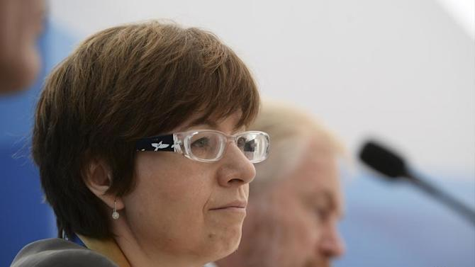 Russia's summit coordinator Ksenia Yudayeva attends a briefing at the G20 Summit in Strelna near St. Petersburg