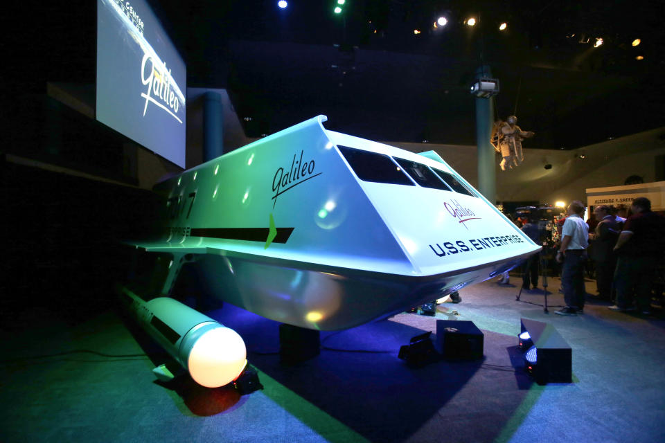 The restored space shuttle Galileo from the 1960's television show Star Trek is unveiled at Space Center Houston Wednesday, July 31, 2013, in Houston. (AP Photo/Pat Sullivan)
