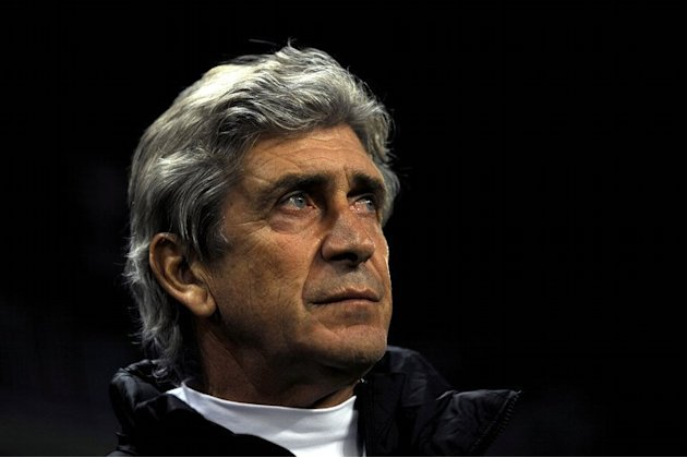 Manuel Pellegrini before the Spanish Cup match between Malaga and Barcelona at the Rosaleda stadium on January 24, 2013