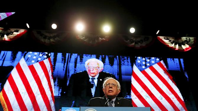 Democratic U.S. presidential candidate Bernie Sanders  speaks at the 2016 McIntyre Shaheen 100 Club Celebration at the Verizon Wireless Arena in Manchester, New Hampshire