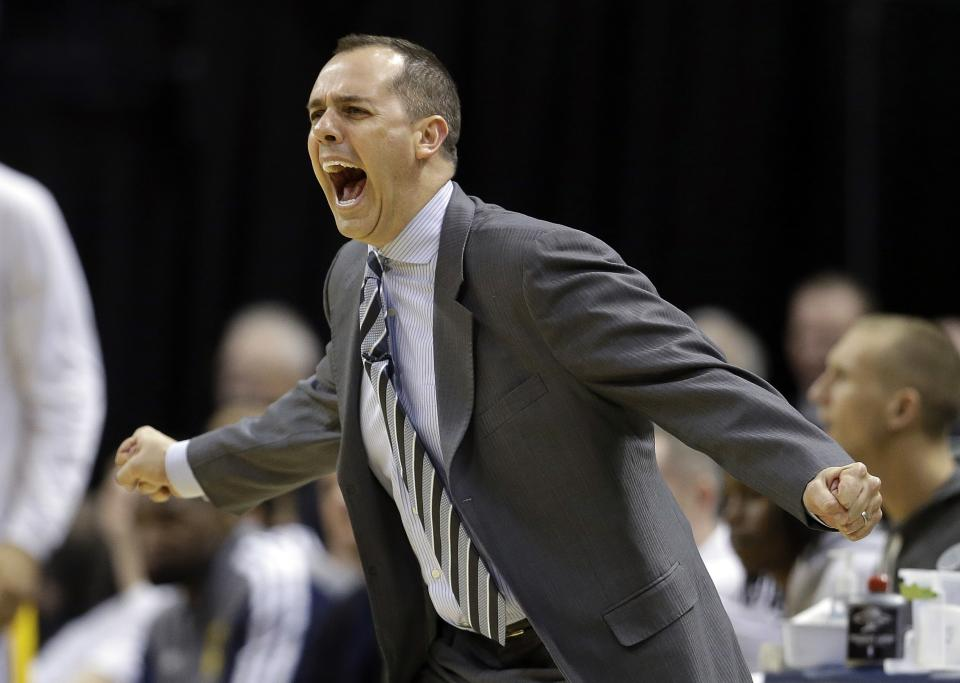 Indiana Pacers head coach Frank Vogel argues a call during the second half of Game 1 in the first round of the NBA basketball playoffs against the Atlanta Hawks, Sunday, April 21, 2013, in Indianapolis. Indiana defeated Atlanta 107-90. (AP Photo/Darron Cummings)