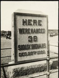 A handout photo from the Minnesota Historical Society depicts a monument indicating where the thirty-eight Sioux Indians were hanged following the U.S.-Dakota War of 1862, in Mankato, Minnesota. REUTERS/Minnesota Historical Society/Handout