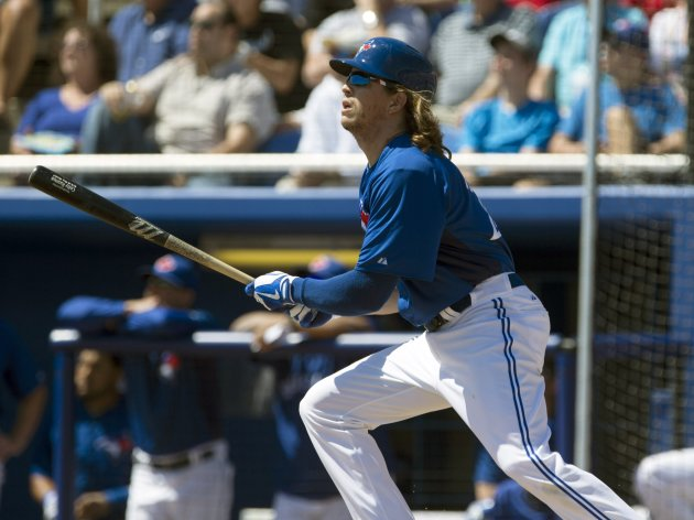 Blue Jays' Rasmus flies out to center against the Yankees during the first inning of their MLB spring training game in Dunedin