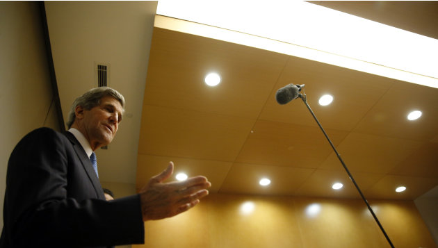 US Secretary of State John Kerry  speaks in Addis Ababa, Ethiopia, Saturday May 25, 2013. Making his first official trip to sub-Saharan Africa,  Kerry on Saturday demanded that Nigeria respect human r
