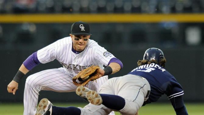 Colorado Rockies shortstop Troy Tulowitzki tags out San Diego Padres Chris Denorfia on an attempted steal of second base during the second inning of a baseball game Tuesday, April 17, 2012, in Denver. (AP Photo/Chris Schneider)