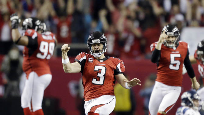 Atlanta Falcons kicker Matt Bryant (3) reacts to his game winning field goal against the Seattle Seahawks during the second half of an NFC divisional playoff NFL football game Sunday, Jan. 13, 2013, in Atlanta. The Falcons won 30-28. (AP Photo/David Goldman)