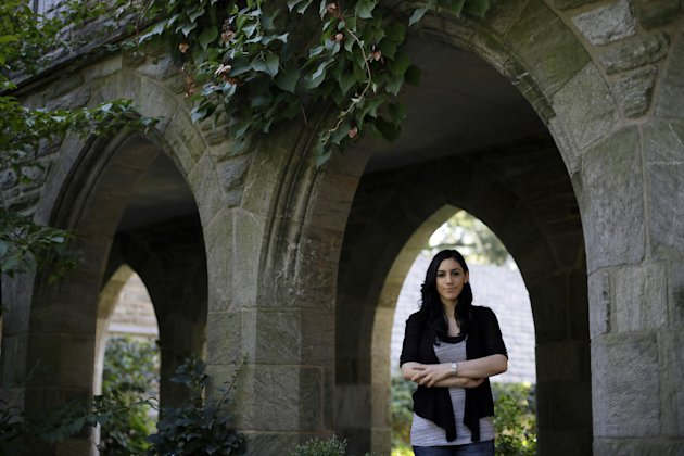 Student poses for a photo on the campus of Swarthmore College (AP Photo/Matt Slocum)