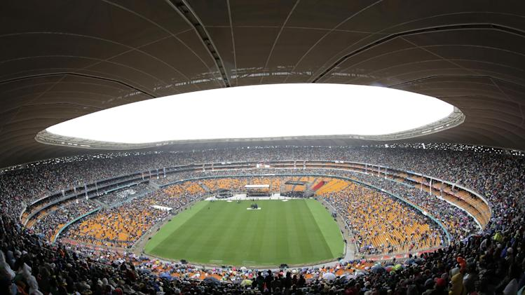 A general view of the arena during the memorial service for former South African president Nelson Mandela at the FNB Stadium in Soweto, near Johannesburg, South Africa, Tuesday Dec. 10, 2013. (AP Photo/Bernat Armangue)