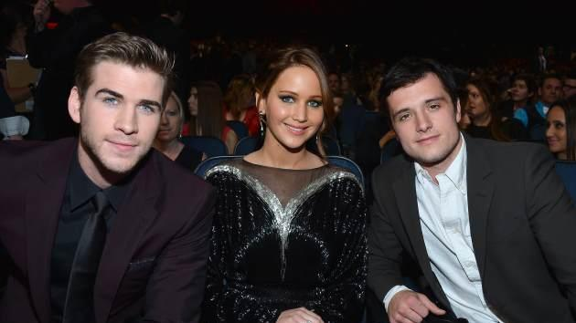 Liam Hemsworth, Jennifer Lawrence and Josh Hutcherson attend the 39th Annual People's Choice Awards at Nokia Theatre L.A. Live on January 9, 2013 in Los Angeles -- Getty Images