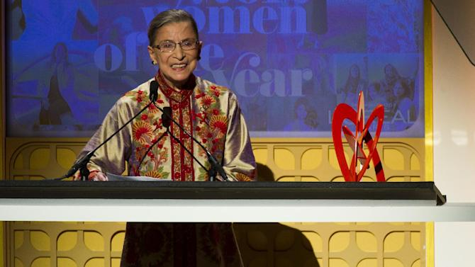Award recipient Supreme Court Justice Ruth Bader Ginsburg appears onstage at the Glamour Women of the Year Awards on Monday, Nov. 12, 2012 in New York. (Photo by Charles Sykes/Invision/AP)