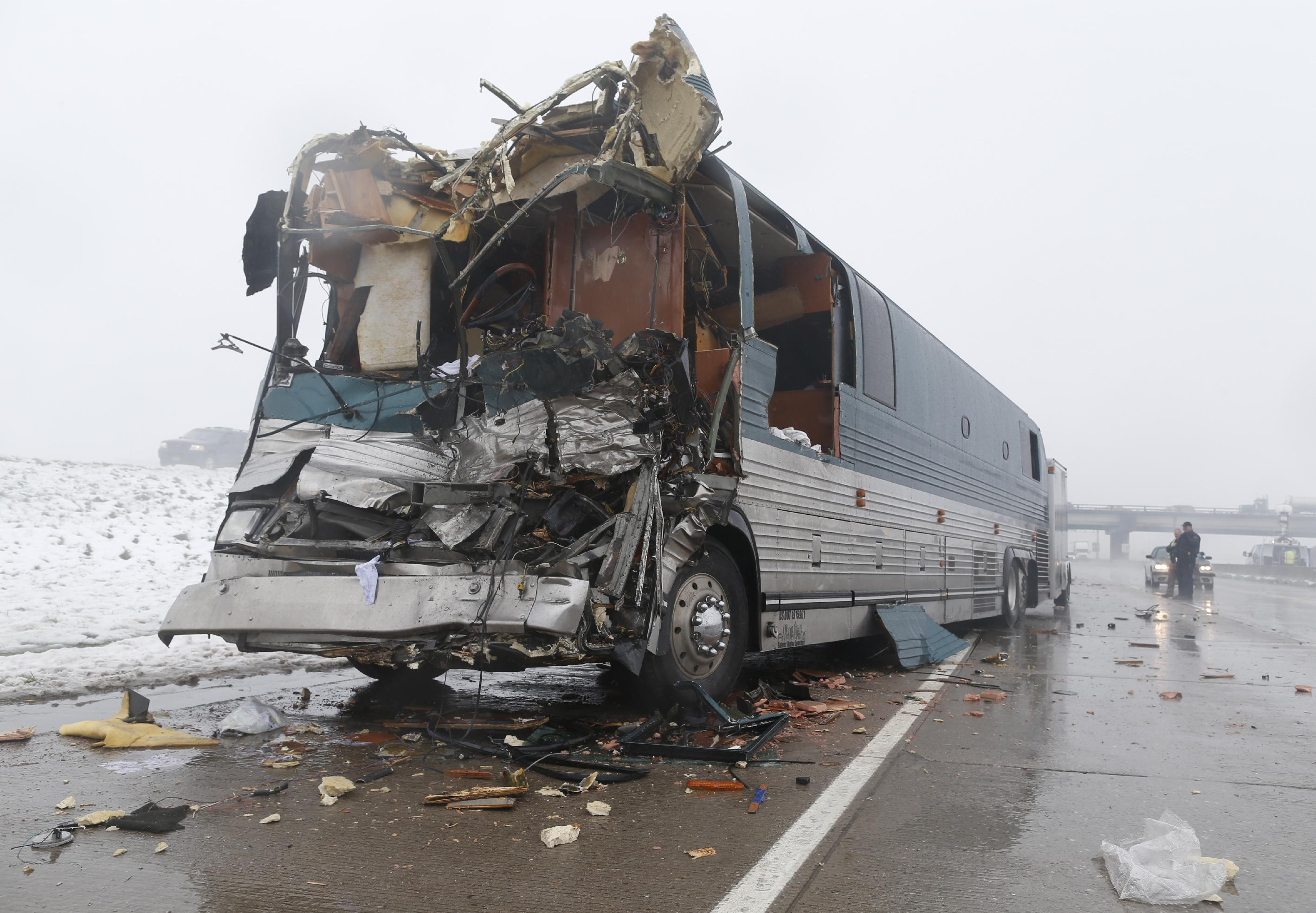 12 hurt in Denver-area crash involving tour buses amid fog